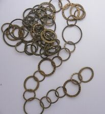 36 INCHES ANTIQUE BRASS FANCY AST SIZE ROUND LINK   CHAIN   * LOT H  11