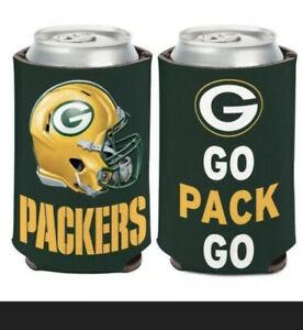 GREEN BAY PACKERS ~ (1) NFL Beer Can Coolie Koozie Holder 2-Sided Huggie