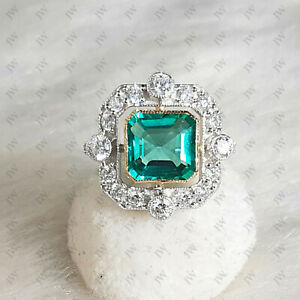 Art Deco 3 CT Natural Emerald Engagement Ring Re-Production Circa 1850 9kt Gold