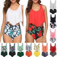 Women High Waisted Bikini Tankini Set Swimsuit Ruffle Swimwear Swimming Costume