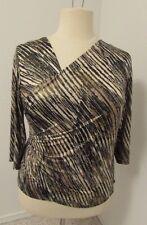 Dressbarn Collection Sz 1X Brown, Black, Metallic Gold Top DRESSY!      464