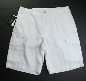 """POLO RALPH LAUREN Men's Big & Tall White Relaxed Fit 10"""" Cotton Cargo Shorts NWT"""