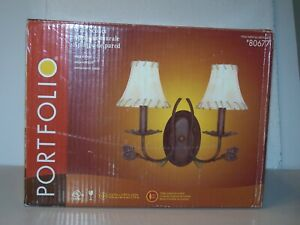 Portfolio 80677 Wall Sconce 2 light with imitation leather shades Wire in NIP