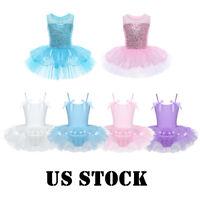 US Kids Ballerina Costume Girls Ballet Sequins Dance Leotard Dress Gym Dancewear
