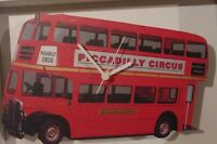 Piccadilly London Bus novelty wooden wall clock British made Lark Rise