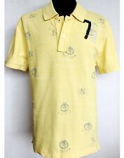 CORDON Berlin Men Pique Polo Shirt Short Sleeve Cotton Yellow Golf M Slim L