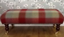 Footstool Stool In Laura Ashley Keswick Cranberry 100% Wool Fabric