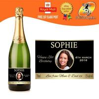 PERSONALISED CHAMPAGNE PROSECCO PHOTO BOTTLE LABEL BIRTHDAY ANY OCCASION GIFT