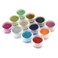 12 MIXED COLOUR GLITTER DUST POTS NAIL ART CRAFT NAILS 3g Each PINK GREEN GOLD