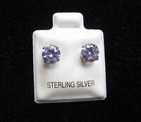 Round 6mm Lavender Cubic Zirconia June Birthstone Sterling Silver Stud Earrings