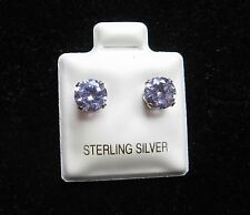 Round 6mm Lavender Cubic Zirconia June Birthstone Sterling Silver Stud Earrings