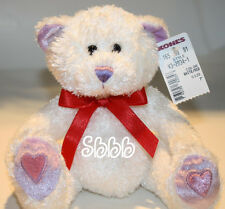 "Valentines Plush TEDDY BEAR 7"" White Red Sparkle New Caltoy Kohls Stuffed Toy"