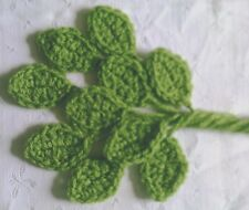 Foxy Flowers 10 Hand Crochet Applique Bright Green Leaves - 4cm x 3cm