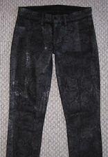 J BRAND BLACK SEXY SNAKE PYTHON PRINT SHINY BOA SLIM SKINNY 25 LEGGINGS JEANS
