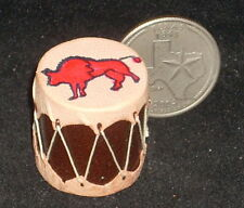 Miniature Southwest Native American Indian Drum w/ Buffalo Motif 1:12 Prestige