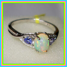 Ethiopian Welo Opal Tanzanite  Ring Platinum over Sterling Silver 925 size  9 10