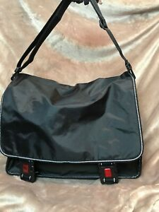 New Black and Red XLarge Reflective Messenger Bag for Student of Business