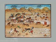 RARE ! grande peinture  traditionnelle mongole toile et pigments signée, chevaux