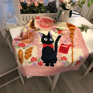 Japan Kiki's Delivery Service Black Cat Towel Hand Beach Towel Cotton 70*140