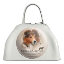 Shetland Sheepdog Dog Breed White Metal Cowbell Cow Bell Instrument