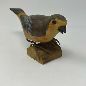 Hand Painted & Carved Wooden Bird On Real Wood Slab Home Decor Shelf Sitter