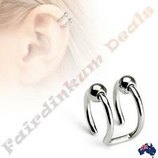 316L Surgical Steel Silver Ion Plated Double Closure Cartilage Ring with Beads