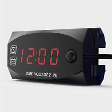 Digital LED Voltmeter Voltage Time Clock Gauge  In-dash Meter For Car Motorcycle
