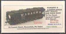 Funaro F&C 6881  1953-70's  WABASH  70 Ton QUADRUPLE Covered Hopper WAB  1-PIECE