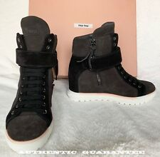fa783acc517 AUTHENTIC Miu Miu Suede Lace-Up Black Brown Wedge Sneaker with Strap Sz 6.5  NIB