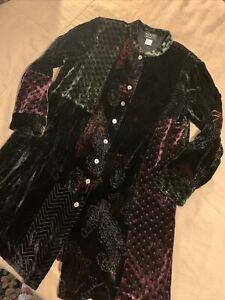 Vintage Koos Long Velvet Silk Blend Tunic Top Womens Medium Patches Lagenlook