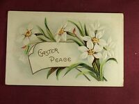 Vintage Easter Peace Postcard white daffodils embossed