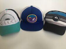 trucker hats vintage Lot of 3 Quick Silver Volcom Rocky Mtn SD Snap Back Mesh