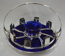 Vintage Art Deco Cobalt Blue Ashtray Cigarette Holder Smoking Set