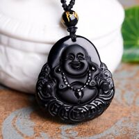 NEW Natural Obsidian Carved Matte Money Lucky Buddha Pendant Crystal Necklace