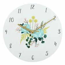 34cm Botanical Print Wooden Wall Clock Flowers White Blue Yellow Green