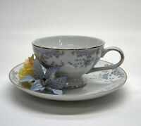 Imperial China #5303 Seville by W Dalton Teacup & Saucer Blue Roses Scrollwork