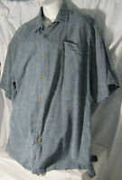 Hawaiian Men's Shirt Caribbean Joe 100% Silk s/s Blue w palm trees XL