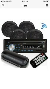Pyle Marine Bluetooth Receiver Stereo System w/ 2 Pair 6.5 Inch Speakers, Black