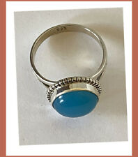 Artisan Created Hand Crafted Natural chalcedony Sterling Silver Ring from India