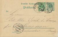 """DT.REICH """"PUTBUS"""" K1 5 Pf blaugrün Reichspost Pra.-GA-Postkarte 1894 RARITÄT!!"""