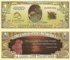 Happy Anniversary I Love You Dollar Bills x 2 Two Souls Paper Wedding Gift New