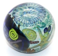 ALLURING Magnum JON WOLFE Aqua Blue NAUTILUS Fossil ART Glass PAPERWEIGHT