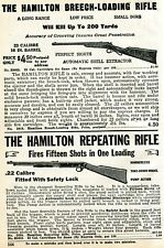 1926 small Print Ad of The Hamilton Breech-Loading & Repeating .22 Rifle