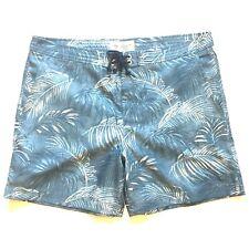 PENGUIN Munsingwear Mens Swim Trunks Board Shorts Blue Palm Print 36 (MSRP $79)