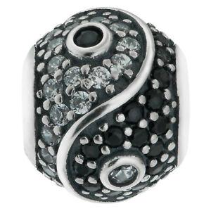 925 Sterling Silver Yin Yang Tai Chi CZ Crystal Bead for European Charm Bracelet