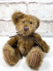 First and Main Plush Minky Teddy Bear Plush Leather Bow