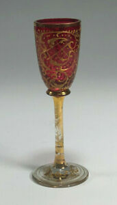 Wonderful Moser Gold Gilt Decorated Cranberry Glass Cordial #3