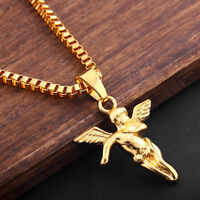 """Men's Gold Baby Angel Pendant 28"""" Long Sweater Chain Necklace Hip Hop Jewelry"""