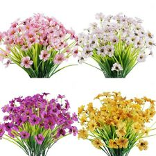 4pcs Violet Artificial Flowers Fake Plant Outdoor Faux Floral Greenery Shrubs