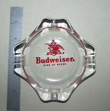 Vintage Budweiser Beer Clear Glass Ashtray Advertising